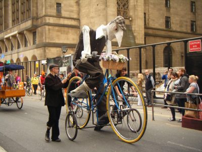 Giant bike with Dave puppet for Manchester Day 2013